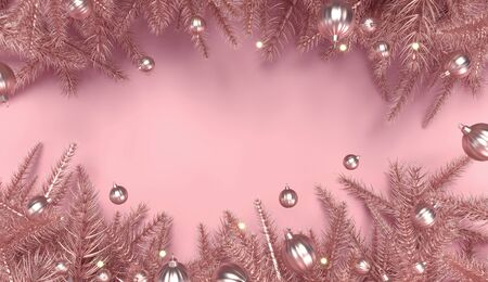 Christmas tree branches on pink background. New year greeting card, poster. Copy space for text. Winter Holiday banner. 2020 with empty space for mockup template. Gold toys, decor, pine branches