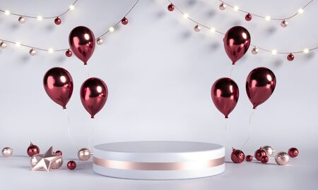 Podium, pedestal with balloons, toys. White background template for sales promotion. Platform for goods, numbers, discounts. Cylindrical scene for New Year, Christmas holidays advert
