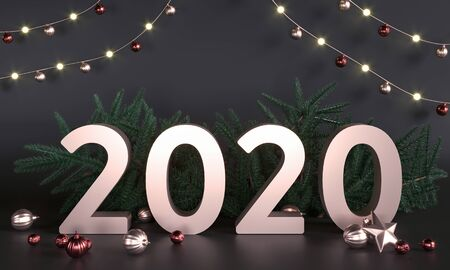 2020 - greetings card. Christmas tree branches, toys, decorations, garlands. Christmas greeting card, sale poster. New Year, holiday - 3D render illustration mockup. Gold 2020 in dark studio. Archivio Fotografico