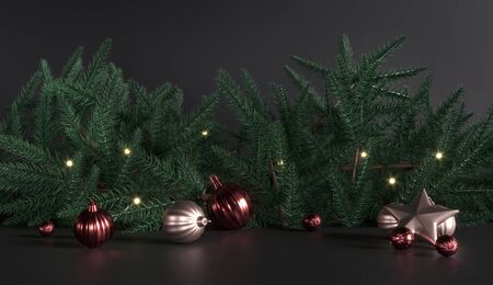 Christmas tree branches - Studio with empty space. Black background - advertising template. New Year poster  for greetings. Green pine branches - decorative frame. 3d render dark illustration Archivio Fotografico