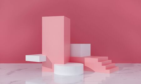 Podium, exhibition pedestal for goods promotion. Cubes, stairs and cylinders - platform, sale scene. Pink pastel colors, white marble floor in room. Architectural cosmetics 3d render illustration Archivio Fotografico
