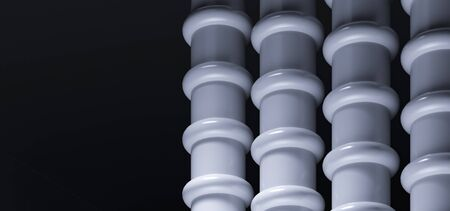 Architectural advertising advertising poster. Sewer pipes - infrastructure. Colonnade on a black dark background. Empty space for text. Architectural background - 3d render illustration. Foto de archivo - 131754386