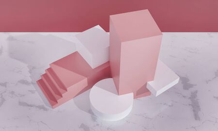 Podium, exhibition pedestal for goods promotion. Cubes, stairs, cylinders - platform, sale scene. Pink pastel colors, white marble floor in room. Architecture 3d render illustration. View from above