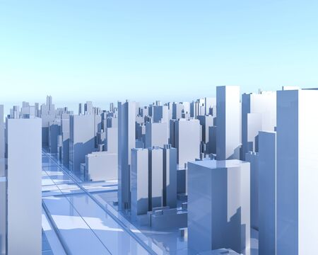 City Urban, 3D panorama on blue sky. Architectural render illustration. Apartment rental - advertising promotion banner. Office business center environment. High-rise skyscrapers - rental estate city Foto de archivo - 131755628
