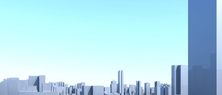 City Urban, 3D panorama on blue sky. Architectural render illustration. Apartment rental - advertising promotion banner. Office business center environment. High-rise skyscrapers - rental estate city Фото со стока