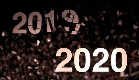 2020 - number on dark background. New Year poster with salute from confetti. 3d render illustration. Greetings card for holiday black friday. Christmas sale - 2019 collapses, explodes, breaks