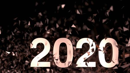 2020 - number on dark background. New Year poster with salute from confetti. 3d render illustration. 2020 - golden shining. Greetings card on holiday black friday. Christmas bright sale poster.