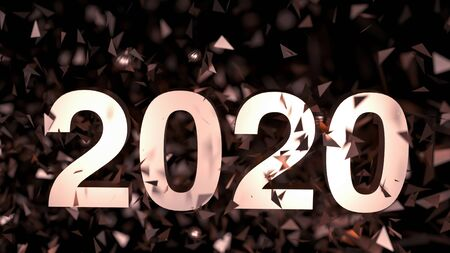 2020 - number on dark background. New Year poster with salute from confetti. 3d render illustration. 2020 - golden shining. Greetings card on holiday black friday. Christmas bright sale poster. 版權商用圖片 - 135642706