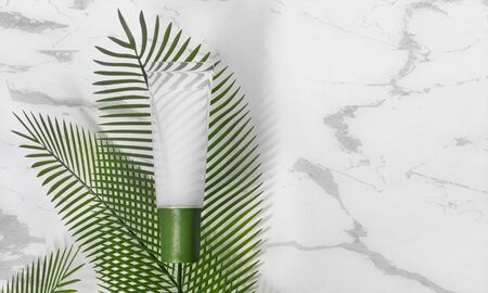Tube makeup - 3d render illustration. Blank face cream - glass tube, green cap. Cosmetics lie on white marble, around palm leaves. Light advertising mockup. Trendy realistic skin or hair care  Фото со стока