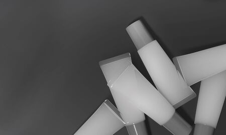 Gray tubes lie on dark background. Translucent tubes with cream - 3D render illustration. Cosmetic product advertising template. Gel for body, hair or skin. Mockup makeup realistic poster.