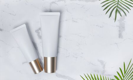 Tubes  - 3d render illustration. Blank face cream - White tube, gold cap. Cosmetics lie on white marble, around palm leaves. Light advertising mockup. Set of trendy realistic skin or hair care cream. Фото со стока