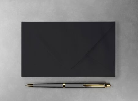 Envelope and pen - 3d render mock up. Official business letter. Branding stationery for the office. Expensive luxury gold-plated pen. Black dark envelope lies on gray surface. Illustration for advert Stockfoto