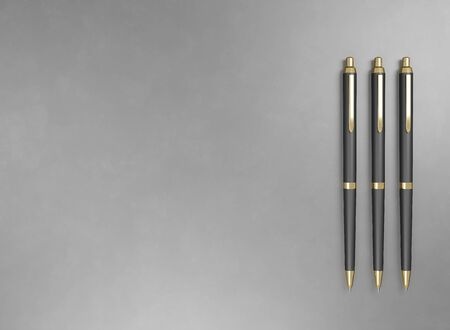 Pen - expensive gold metal and plastic. Background for advertising promotion text. 3d render illustration with copy space. Mock up wallpaper branding. Office stationery for signing business contacts Фото со стока