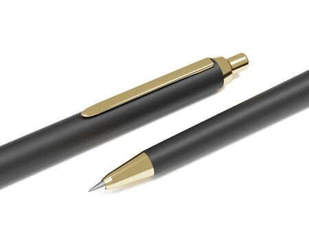 Realistic 3d pen. Black gold metal stationery. Branding of office mock up sample and corporate identity. Design template for business presentation. Luxurious expensive pen on white background.  Stockfoto