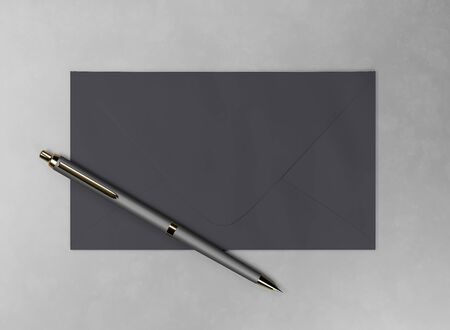 Envelope and pen - 3d render mock up. Official business letter. Branding stationery for the office. Expensive luxury gold-plated pen. Black dark envelope lies on gray surface. Illustration for advert Foto de archivo - 131785723