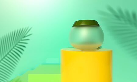Jar Face cream on yellow podium. Palm green leaves - natural product. Cosmetic for face skin care. 3d render illustration. Mockup Product packaging branding. Revitalizing serum, gel on beach sand.  Фото со стока
