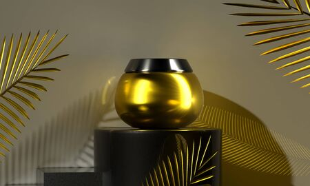 Gold cream jar. Facial sunscreen care for womens health. Palm golden leaves decor. Bottle for body moisturizer. Cosmetics Sale Gift 3d render illustration. Eco-friendly natural organic product Фото со стока