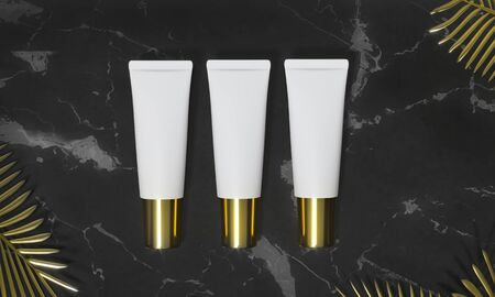 Tubes  - 3d render illustration. Blank face cream - White tube, gold cap. Cosmetics lie on black marble, around palm leaves. Dark advertising mockup. Set of trendy realistic skin or hair care cream. Foto de archivo - 131785923
