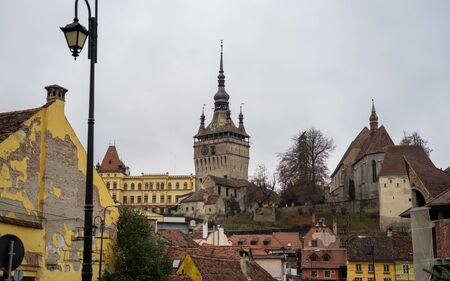 Old town of Sighisoara in east Europe in Romania with beautiful old architecture