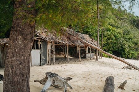 Abandoned cottage in Thailand's Bamboo Island in middle of the jungle and beach
