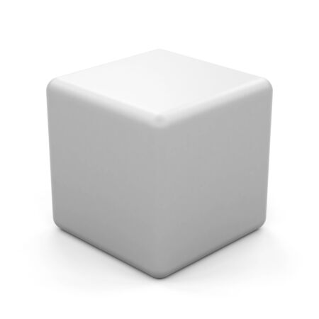 3d white cube isolated.