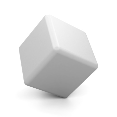 3d white cube isolated. photo