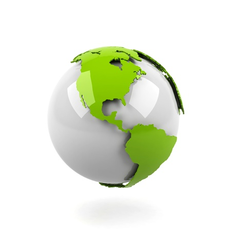 Planet earth on white background.