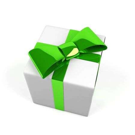Gift box isolated on white. 3D image.  photo