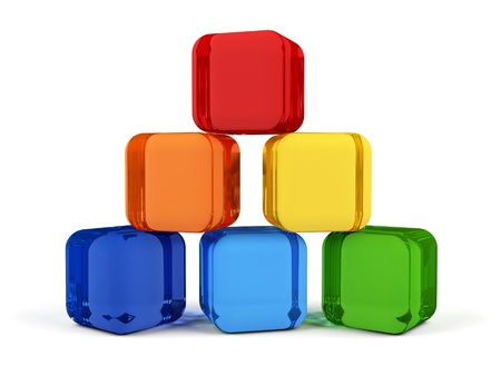 Cubes in rainbow colors  스톡 콘텐츠
