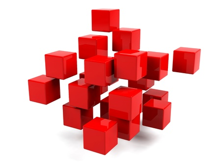 Abstract geometric shapes from cubes isolated