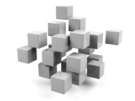 assembling: Abstract geometric shapes from cubes isolated   Stock Photo