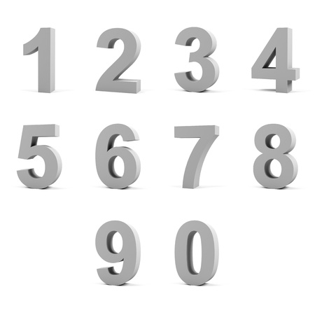 shine silver: Number from 0 to 9 on white background.