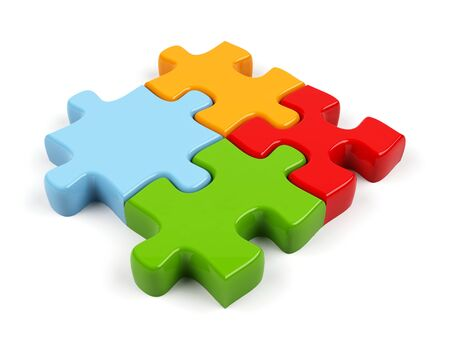 3d puzzle isolated on white   Stock Photo