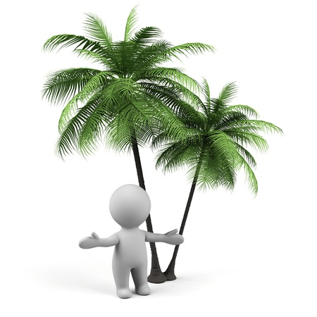 man outdoors: 3d man with palms Stock Photo
