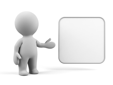 3d human with blank board.