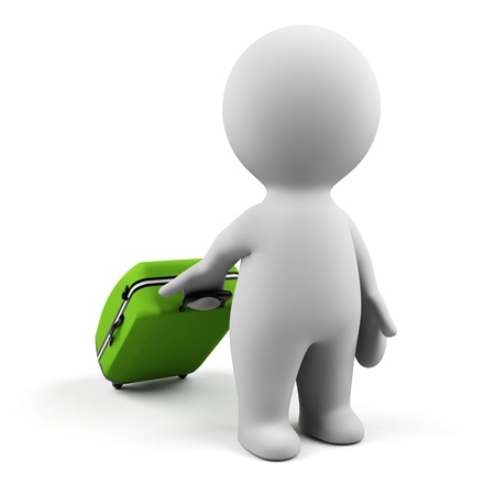 3d man with suitcase. Stock Photo