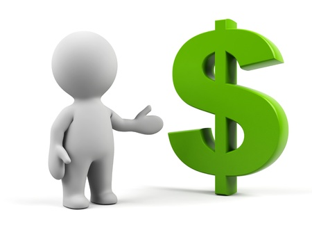 3d man with dollar symbol. Stock Photo - 15103344