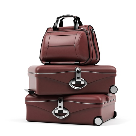 leather briefcase: Suitcases isolated on a white background.