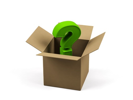 Cardboard box with question sign on a white background   photo