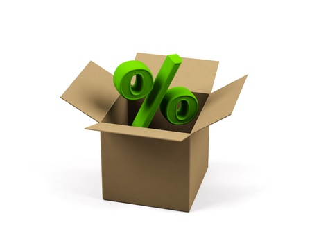 storekeeper: Cardboard box with percent sign on a white background.