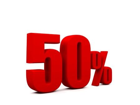 50 percent isolated on white background. 50%