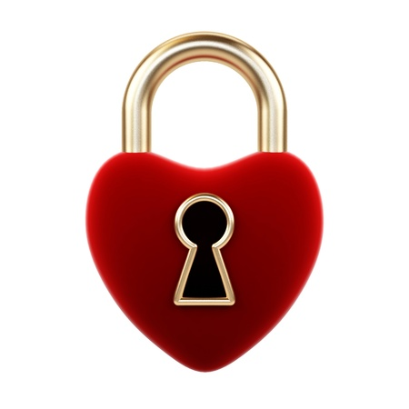 Heart padlock on a white background   photo