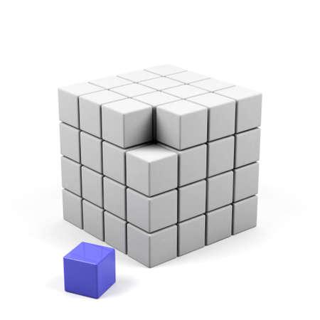 abstract 3d illustration of cube assembling from blocks  illustration