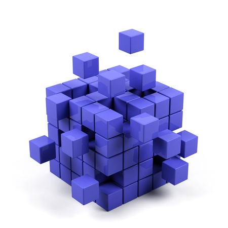 abstract 3d blocks: abstract 3d illustration of cube assembling from blocks  Stock Photo