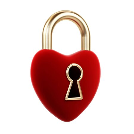 Heart padlock on a white background   Stock Photo - 15325697