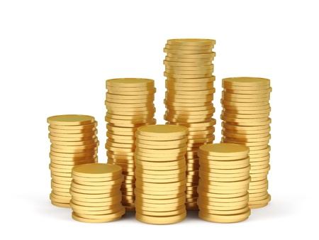 rouleau: Stacks of gold coins on a white background.