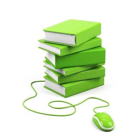 learning computer: Mouse del computer e libri - concetto di e-learning. Immagine 3D.