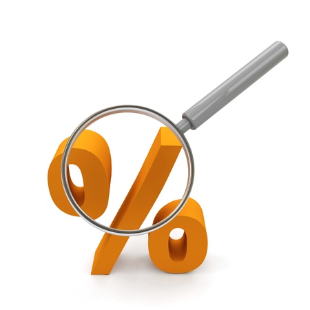 percentage sign: Symbol of rate under magnifying glass.