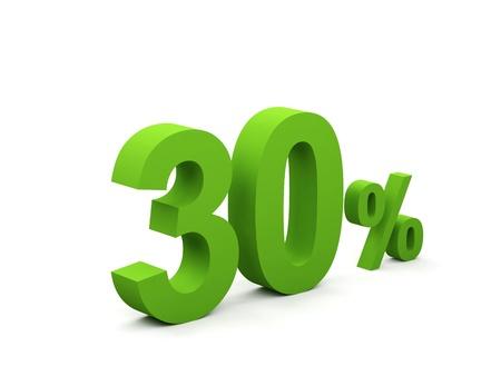 30 percent isolated on white background. 30%  Stock Photo