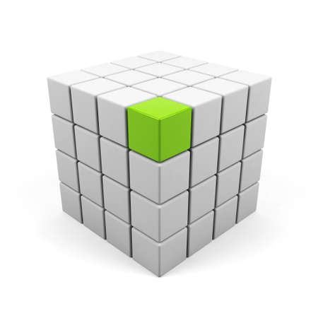 abstract 3d illustration of cube assembling from blocks illustration